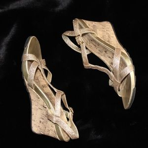 Sparkly Gold Ankle Strap Wedge Sandal